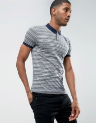D-Struct Striped Jacquard Polo Shirt - Navy