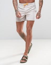 D Struct Swim Shorts with Neon Draw String - Grey