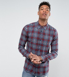 D-Struct TALL Flannel Check Shirt - Red