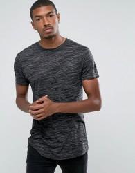 D-Struct Textured Longline T-Shirt - Grey