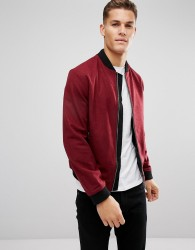 D Struct Wool Bomber Jacket - Red