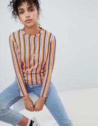 Daisy Street Long Sleeve T-Shirt In Neon Stripe - Multi