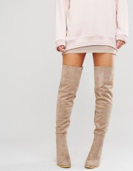 Daisy Street Taupe Heeled Over The Knee Boots - Beige
