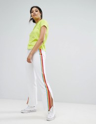 Daisy Street Wide Leg Track Pants With Neon Sports Stripe - White