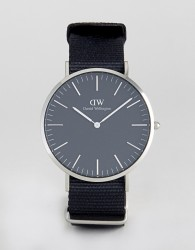 Daniel Wellington Classic Black Cornwall Nato Watch With Silver Dial 40mm - Black