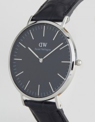 Daniel Wellington Classic Black Reading Leather Watch With Silver Dial 40mm - Black