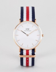 Daniel Wellington Classic Canterbury Watch with Canvas Strap 36mm - Red