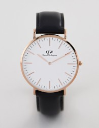 Daniel Wellington Classic Sheffield Leather Watch in Rose Gold 40mm - Black