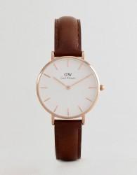 Daniel Wellington DW00100171 Petite Bristol Leather Watch In Brown 32mm - Brown