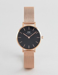 Daniel Wellington Petite Melrose Black Dial Mesh Watch in Rose Gold 28mm - Gold