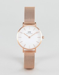 Daniel Wellington Petite Melrose White Dial Mesh Watch in Rose Gold 28mm - Gold