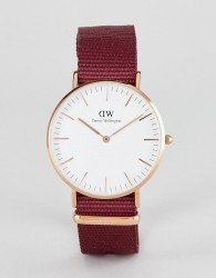 Daniel Wellington Roselyn Watch in Rose Gold with Canvas Strap 36mm - Red