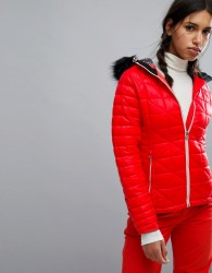 Dare2be Endow Padded Ski Jacket with Fur Hood - Red