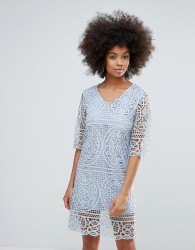 Darling 3/4 Sleeve Crochet Lace Shift Dress - Blue
