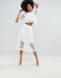 Darling Crochet Lace Midi Skirt - White