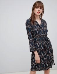 Darling Geo Print Belted Shirt Dress - Navy