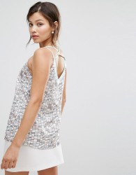 Darling Grid Print Strappy Back Vest Top - Blue
