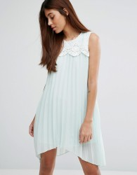 Darling Hanky Hem Dress With Lace Detail - Green