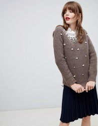 Darling Jumper With Pearl Embellishment - Brown