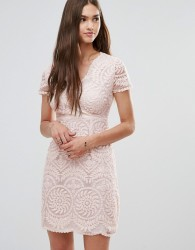 Darling Short Sleeve Lace Shift Dress - Beige