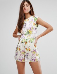 Darling Summer Garden Print Playsuit - White