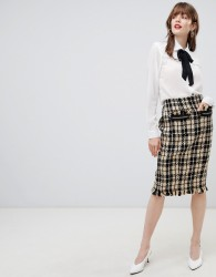 Darling Textured Checked Pencil Skirt - Black