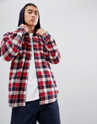 DC Shoes Check Shirt with Hood in Red - Red