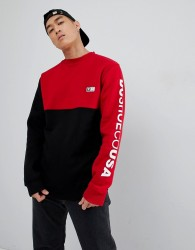 DC Shoes Cut & Sew Sweatshirt in Black and Red - Black