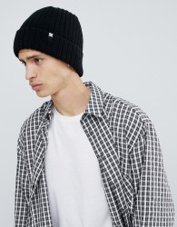 DC Shoes Ribbed Fisherman Beanie in Black - Black