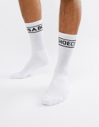 DC Shoes Socks with Logo Band in White - White