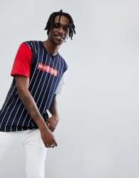 DC Shoes t-shirt in stripe with contrasting sleeves - Navy