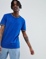 DC Shoes T-Shirt With Neck Taping Detail In Blue - Navy