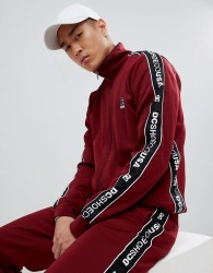 DC Shoes Track Jacket with Logo Taping in Burgundy - Red