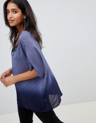 Deby Debo Amira T-Shirt with Embellished Neck Trim - Blue