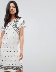 Deby Debo Billy Embroidered Shift Dress - Cream