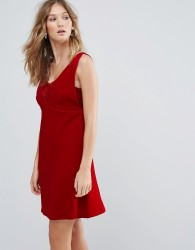 Deby Debo Ezra V Neck Mini Dress - Red