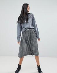 Deby Debo Folie Silver Metallic Pleated Skirt - Silver