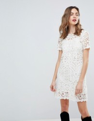 Deby Debo Guipure Lace Shift Dress - White