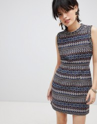 Deby Debo Iliana Print Dress with Embellished Neck Trim - Multi