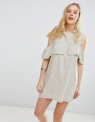 Deby Debo Jinette Stripe Shirt Dress - Cream