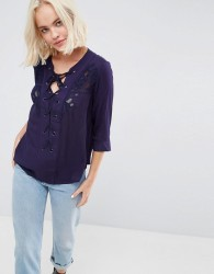 Deby debo Marago Lace Up Blouse - Navy
