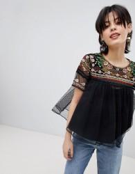 Deby Debo Riviera Embroidered Mesh Top - Black