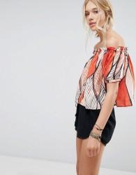 Deby Debo Shen Off Shoulder Printed Blouse - Red
