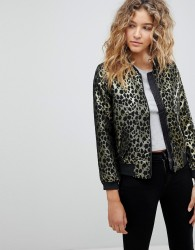 Deby Debo Wild Gold Animal Print Bomber - Gold