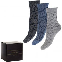 Decoy 3-pak Glitter Socks - Blue/Grey * Kampagne *