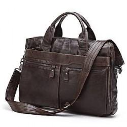 Delton Bags Brun Mark Læder Computertaske