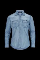 Denimskjorte med vaske- og slidte effekter