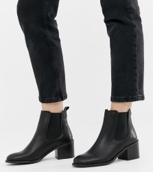 Depp wide fit leather heeled chelsea boots - Black