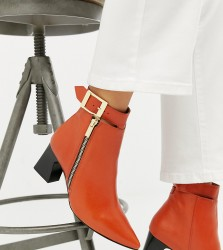 Depp wide fit leather side zip heeled boots - Orange