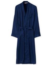 Derek Rose Pure Silk Striped Dressing Gown Navy men M Blå